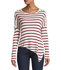 bleeker striped lace asymmetric top