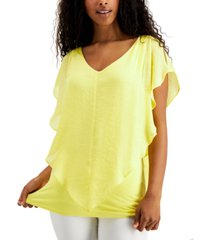 bcx juniors' crochet-trimmed flutter popover top