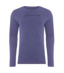 camiseta masculina logo básico - azul