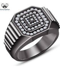 10k black gold 925 silver men's band wedding ring with 2.00ct diamond round cut