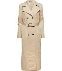 twill trench coat trenchcoat lange jas beige ivyrevel