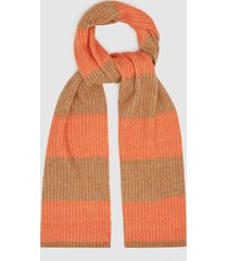 reiss alva - striped knitted scarf in camel, mens