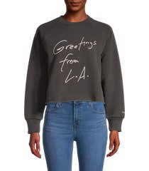 frame women's graphic cotton-blend sweatshirt - faded noir - size xs
