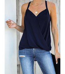 camiseta sin mangas cruzada con cuello en v y cuello halter azul marino de yoins