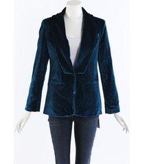 self portrait peacock blue velvet blazer jacket blue sz: m
