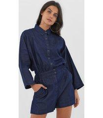 macaquinho jeans forum botões azul-marinho - kanui