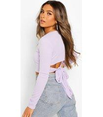 petite long sleeve tie back rib top, lilac