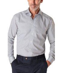 eton slim fit medallion print dress shirt, size 15 in blue at nordstrom