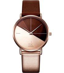 reloj mujer lujo dial acero inoxidable shengke 0095 dorado rosa