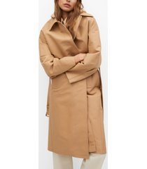 mango belt cotton-blend trench