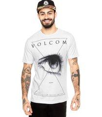 camiseta manga curta volcom draw eye branca - branco - masculino - dafiti