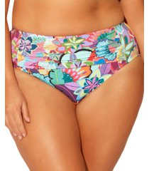 bleu by rod beattie plus size floral-print tummy control bikini bottoms women's swimsuit