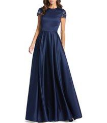 mac duggal embellished-sleeve satin gown