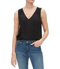 blusa sin mangas cuello v negro gap