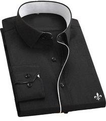 camisa de manga larga para hombres negocios ocio ocupación monos-negro