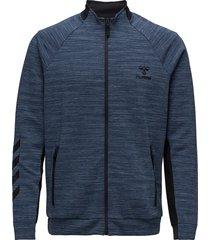 hmlguy zip jacket sweat-shirt trui blauw hummel