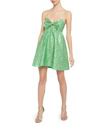 women's alice + olivia melvina bow front metallic jacquard babydoll dress