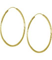 "essentials medium textured endless hoop earrings, 2"" in fine silver or gold plate"