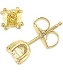 effy yellow diamond cushion-cut stud earrings (1 ct. t.w.) in 18k gold