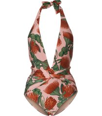 adriana degreas fiore floral stretch deep v-neck swimsuit - pink