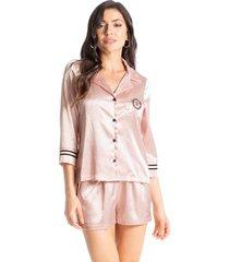 pijama curto em cetim abotoado luxo