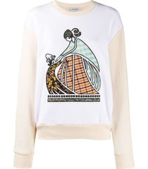 lanvin embroidered-logo sweatshirt - neutrals