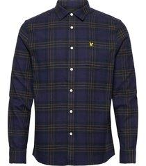 brushed check shirt skjorta casual blå lyle & scott