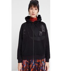 single-colour sweatshirt with hood and patch - black - m