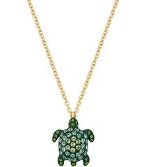 pendente mustique sea life turtle, piccolo, verde, placcato color oro