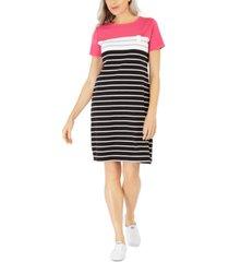 karen scott sport-stripe dress, in regular and petite, created for macy's