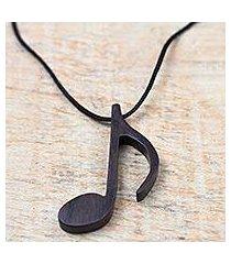 ebony wood pendant necklace, 'dark note' (ghana)