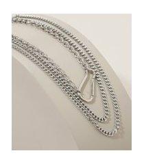 colar feminino folheado correntes com mosquetão prateado