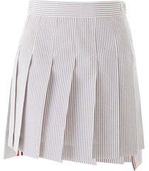 thom browne pleated seersucker mini skirt