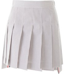 thom browne pleated seersucker mini skirt