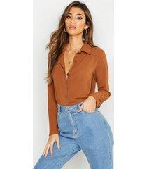 geweven blouse, kameel
