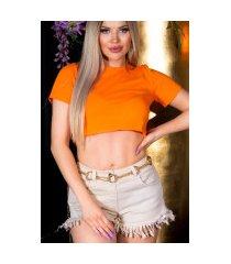 sexy basic cropped t-shirt oranje