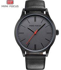 reloj para hombre/correa de piel/ mini focus / 0058g /-negro