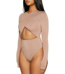 naked wardrobe crisscross wrap long sleeve bodysuit, size x-small in coco at nordstrom