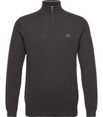 cotton pique half zip knitwear half zip jumpers grå gant