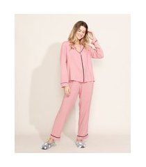 pijama feminino camisa com vivo contrastante manga longa rosê