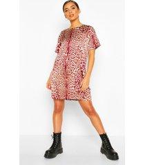 woven leopard shift dress, burgundy