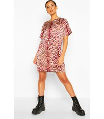 woven leopard shift dress, burgundy