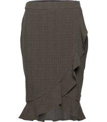 skirt in checks w ruffle knälång kjol grön coster copenhagen
