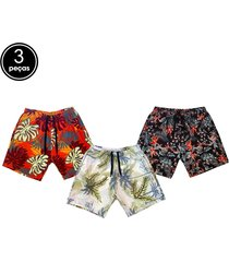 kit 3 short ks  praia  estampado microfibra  bolsos  laterais multicoloridos
