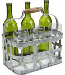 mind reader rustic farmhouse bottle carrier, 6 wine bottle caddy