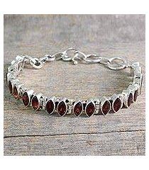 garnet tennis bracelet, 'red marquise' (india)