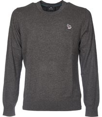 dark grey pullover with zebra logo patch