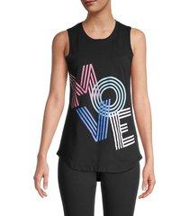 knit riot women's move graphic tank top - black - size l