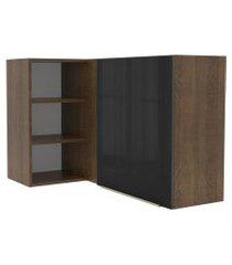 armário aéreo de canto com adega acoplada madesa lux 1 porta - rustic/preto marrom