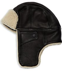 shearling-trim leather trapper hat